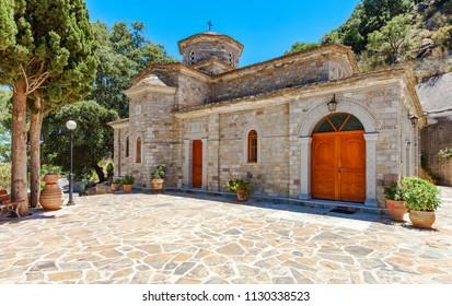 Church dedicated to Myrrhbearers at Monastery of Saints Michael and Gabriel - Kremaston (Kremasti, Kremasta) Crete, Greece. The monastery Kremaston was founded in the 16th century (1593)