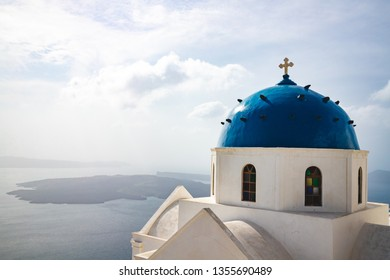 A church dome at Santorini, Greece