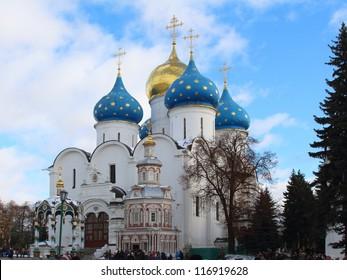 Church Domes in Trinity Sergius Lavra, Sergiev Posad, Russia. UNESCO World Heritage Site. October 2012