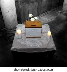 church donation box in a small old lutheran church