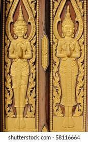 Church door the wood carves Thai style