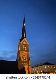 Church in downtown Charleston at night