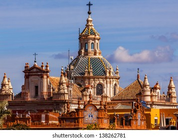 Church of El Salvador, Iglesia de El Salvador, Dome with Cross, Seville Andalusia Spain.  Built in the 1700s.  Second largest church in Seville.