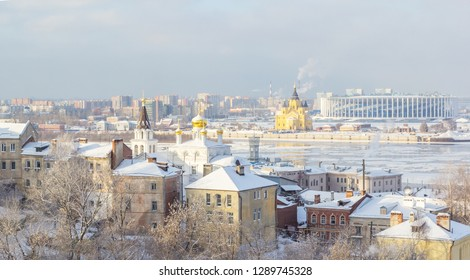 Church of Elijah the Prophet and Alexander Nevsky Cathedral in Nizhny Novgorod, in winter