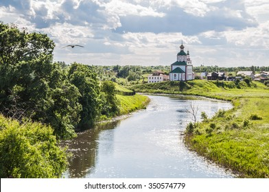 Church of Elijah the Prophet on Ivanova mountain or Elias Church - Orthodox church in Suzdal, on the banks of the Kamenka River, Russia. Gold ring of Russia.