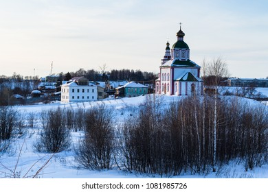 Church of Elijah the Prophet on Ivanovo Hill (Elijah Church) Suzdal town in winter evening in Vladimir oblast of Russia