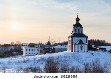 Church of Elijah the Prophet on Ivanovo Hill (Elijah Church) Suzdal town at winter sunset in Vladimir oblast of Russia
