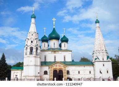 Church of Elijah the Prophet in Yaroslavl, Russia, beautiful blue sky clouds. UNESCO World Heritage Site.