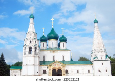 """Church of Elijah the Prophet in Yaroslavl, Russia. UNESCO World Heritage Site. Yaroslavl city is a city from the """"Golden ring"""" list on the Volga river, Russia."""