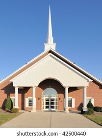 Church entrance under steeple