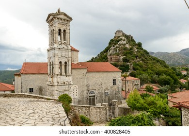 Church of Evaggelistria (Annunciation) with stone belfry at Karytena, Greece