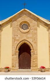 Church facade in Marzamemi, Sicily (Italy)