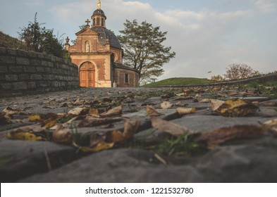 Church in Flanders, retro look. Background in focus.