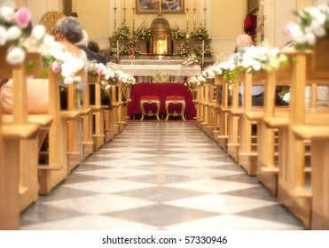 Church with flower for a marriage