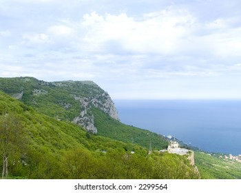 Church in Foros on a background of the sea, mountains and the sky. Crimea