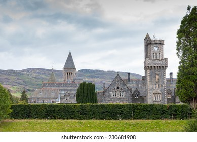 Church at Fort Augustus next to the Caledonian Canal which leads into Loch Ness and connects the North Sea and the Atlantic Ocean