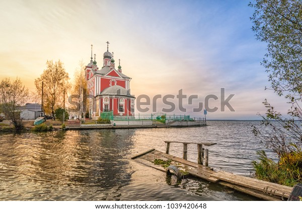 Church of the Forty Martyrs of Sebaste on the side of Pleshcheevo lake in Pereslavl-Zalessky, Yaroslavskaya oblast, Russia