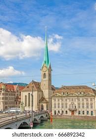 Church Fraumunster in Zurich, Switzerland - view from Minster Grossmunster square
