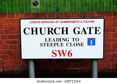 Church Gate, Road / street sign in London, England, UK