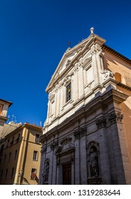 The Church of the Gesù (Giovanni De Rosis, 1597). Niches on the facade with statues by Pietro da Cortona. Inside the false dome painted by Andrea Pozzo. Frascati, Rome, Lazio, Italy, Roman Castles