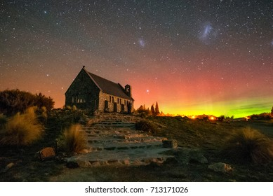 Church of The Good Shepherd with Aurora Australis (Southern Lights), New Zealand
