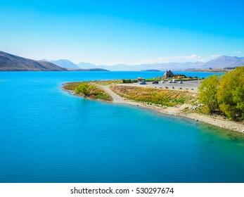 Church of the Good Shepherd with Emerald colored Lake in Tekapo, New Zealand