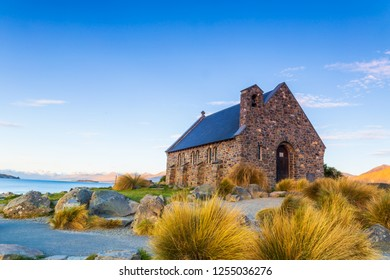 Church of the Good Shepherd at Lake Tekapo, New Zealand with the clear blue sky copy space