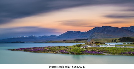 Church of good Shepherd, Lake Tekapo, South Island, New Zealand, motion sky
