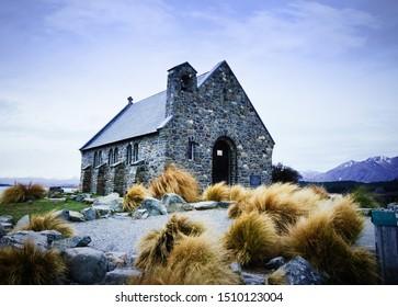 Church of Good Shepherd New Zealand Lake Tekapo old church since 1935 historical site