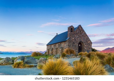 Church of the Good Shepherd, Tekapo, New Zealand with twilight sky