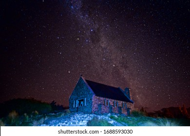 Church of the Good Shepherd Under The Galaxy With Mikly Way