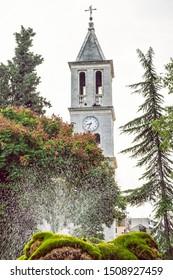 Church of Gospe van Grada and fountain, Sibenik, Croatia. Travel destination. Religious architecture.