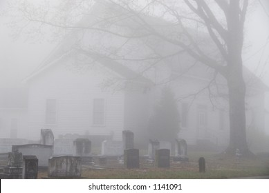Church Graveyard on a foggy morning
