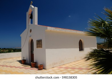 Church in Greece with blue sky