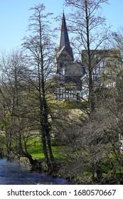 Church and half-timbered houses in Wiehl, Oberbergischer Kreis, North Rhine-Westphalia Germany