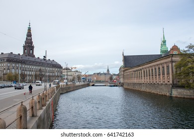 The Church of Holmen and the Christiansborg Palace in Copenhagen, the capital of Denmark.