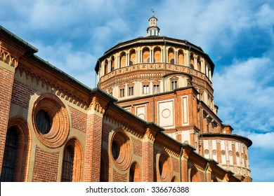 """Church of Holy Mary of Grace- Chiesa di Santa Maria delle Grazie, 1497, Milan, Italy, home of the famous """"Cenacolo"""" from Leonardo da Vinci."""