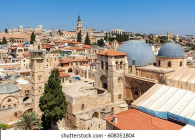 Church of the Holy Sepulchre, domes, minarets and rooftops of the Old City of Jerusalem, Israel as seen from above.