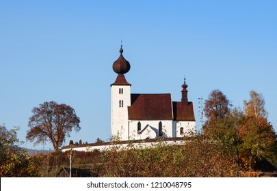Church of the Holy Spirit, a late Romanesque sacral building from the 13th century, located in the village of Zehra, Spisska Nova Ves. Slovakia, UNESCO World Heritage Site, on a beautiful clear Autums