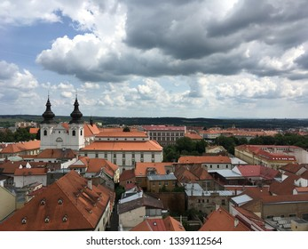 Church and houses in Znojmo, Czech Republic