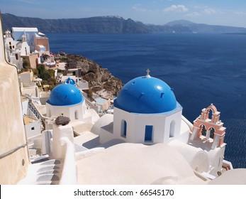 Church in Ia town in Santorini island, Greece