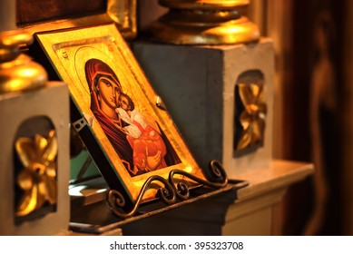 Church icon of Mother of God (Mary) and child (Jesus Christ) symbols christianity
