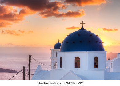 Church of Imerovigli at sunset, Santorini, Cyclades, Greece