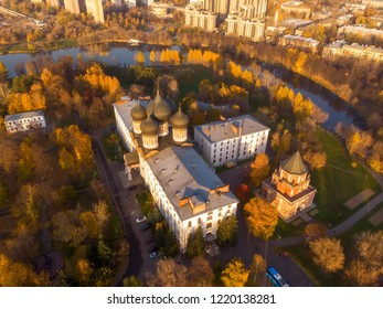 Church of the Intercession of the blessed virgin Mary in Izmailovo in autumn, Moscow. Top view