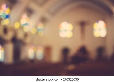 church interior blur abstract background