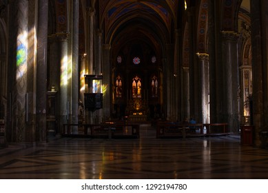 Church interior with reflections of a stained glass window. Gothic style. Roma, Basilica Santa Maria Sopra Minerva, 16.10.2018