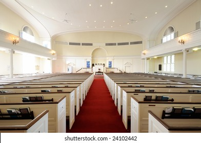 Church interior, wide angle shot