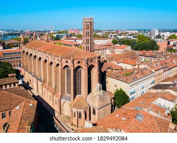 Church of the Jacobins aerial panoramic view, a Roman Catholic church located in Toulouse city, France