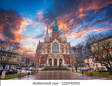 Church Joseph (Parish of St. Joseph) - a historic Roman Catholic church in south-central part of Krakow, Poland at sunset. Was built 1905-1909 y and designed by Jana Sas-Zubrzyckiego.