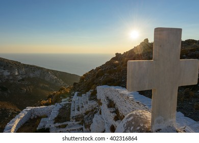 Church of Keraleousa at Oria Castle the Byzantine and medieval fortified capital of Kythnos, Greece until 1570.